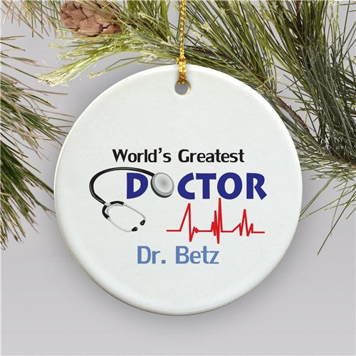 World's Greatest Doctor Personalized Ornament