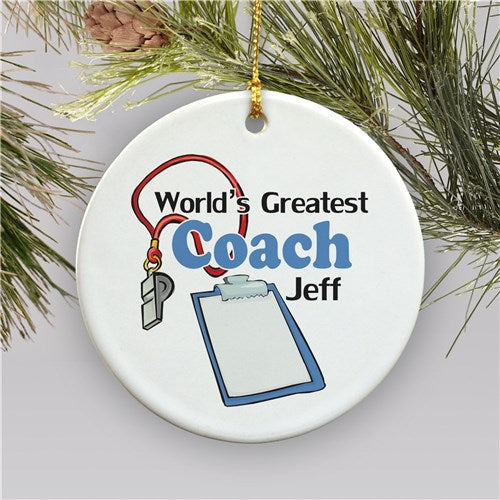 World's Greatest Coach Personalized Ornament | Ceramic