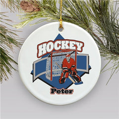 Personalized Ceramic Hockey Player Holiday Ornament