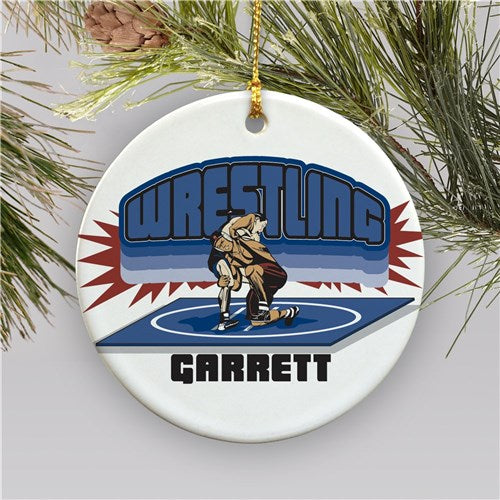 Personalized Ceramic Wrestling Holiday Ornament