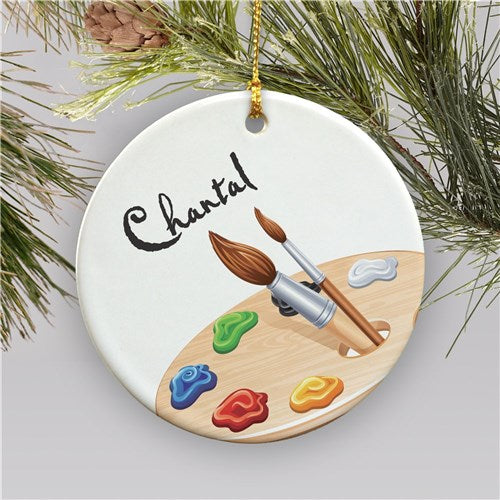 Personalized Ceramic Artist Christmas Ornament
