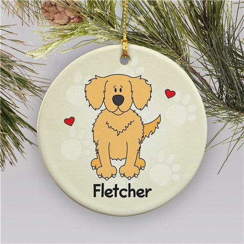 Personalized Ceramic Loved By My Golden Retriever Holiday Ornament