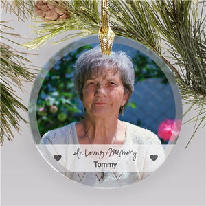 Glass Memorial Photo Ornament