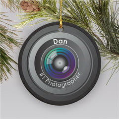 Personalized Ceramic Number One Photographer Christmas Ornament