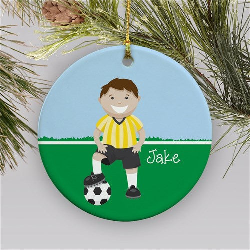 Personalized Ceramic Boy Soccer Holiday Ornament