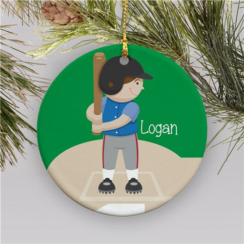 Personalized Baseball Ceramic Holiday Ornament