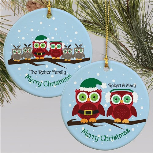 Personalized Ceramic Owl Family Christmas Ornament