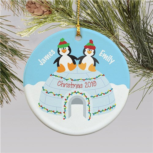 Personalized Penguin Couple Christmas Ornament
