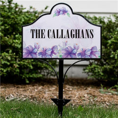 Personalized Purple Floral Magnetic Sign
