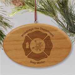 Engraved Fire Department Wooden Oval Christmas Ornament