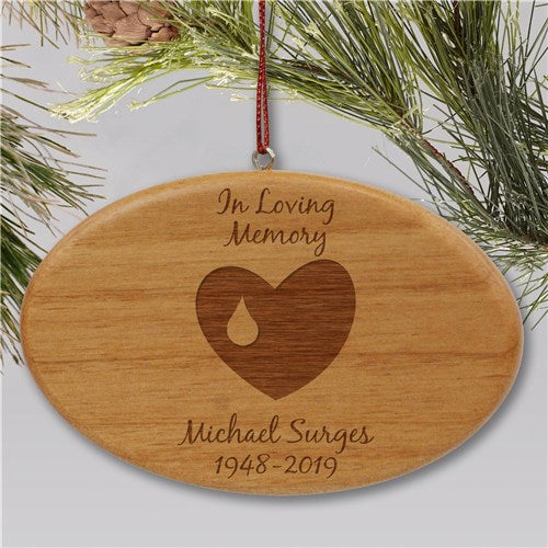 Engraved In Loving Memory Memorial Ornament | Wooden Oval