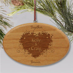 Engraved Together Forever Couples Wooden Oval Christmas Ornament