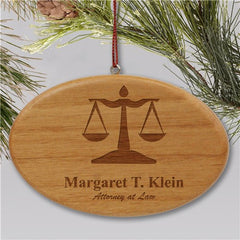 Engraved Lawyer Wooden Oval Christmas Ornament