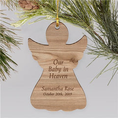 Baby In Heaven Engraved Memorial Ornament | Wood