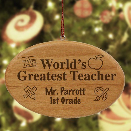 Engraved Personalized Teacher Wooden Oval Christmas Ornament