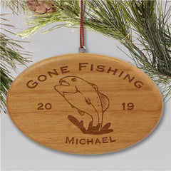 Engraved Fishing Christmas Ornament