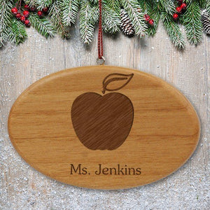 Engraved Apple Personalized Teacher Wooden Oval Ornament