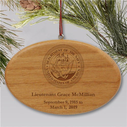 Engraved U.S. Navy Memorial Ornament | Wooden Oval