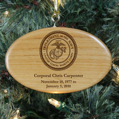 Engraved U.S. Marines Memorial Wooden Oval Ornament