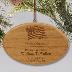 Engraved Military Memorial Ornament | Wooden Oval
