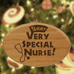 Engraved Nurse Wooden Oval Ornament
