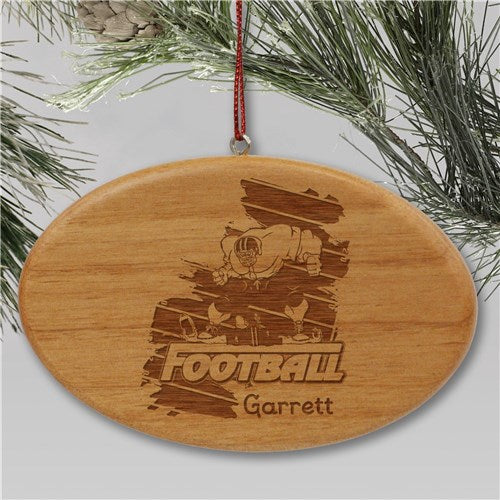 Engraved Football Player Holiday Ornament