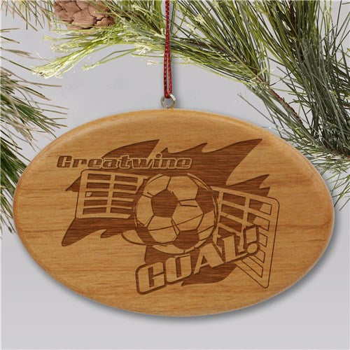 Engraved Soccer Player Wooden Oval Holiday Ornament