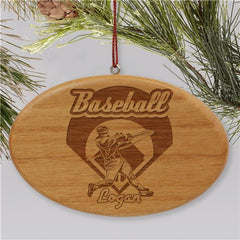 Engraved Baseball Wooden Oval Holiday Ornament