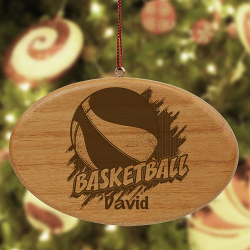 Engraved Basketball Wooden Oval Ornament