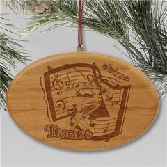 Engraved Dance Wooden Oval Holiday Ornament