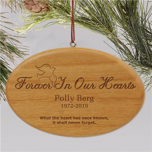 Wooden Forever In Our Hearts Memorial Christmas Ornament