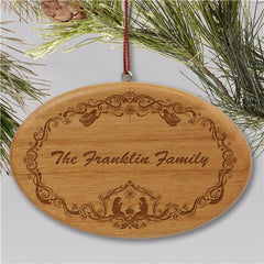Engraved Family Nativity Christmas Wooden Oval Holiday Ornament