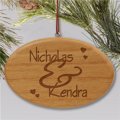 Engraved Couples Wooden Oval Christmas Ornament
