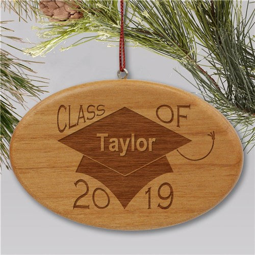 Engraved Class of Wooden Oval Holiday Ornament
