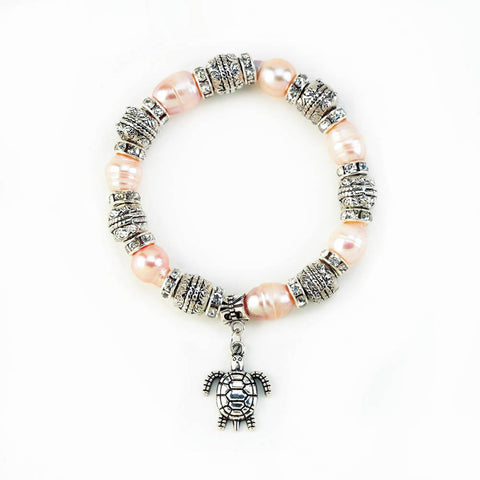 Pink Pearl with Turtle Stretch Bracelt