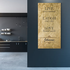 Rusticus Auri Live Every Moment Personalized Canvas Print