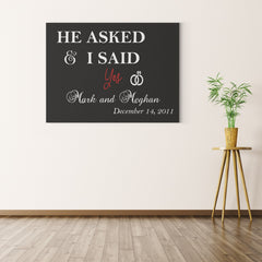I Said Yes Personalized Black Canvas Print