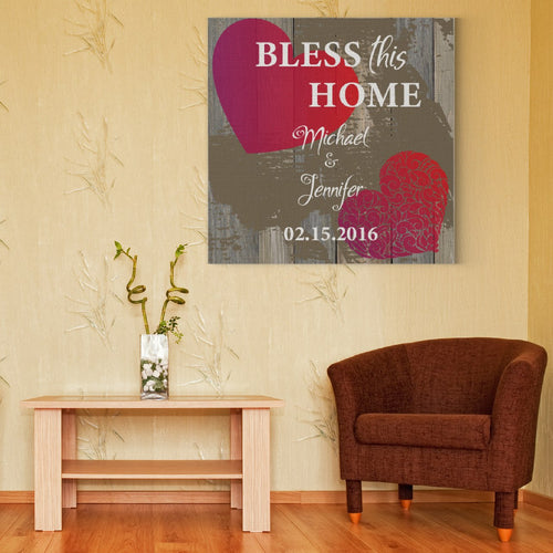 Personalized Bless This Home Canvas Print