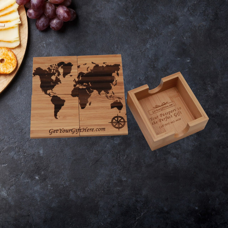 World Map Coaster Gift Set