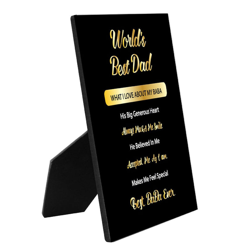 "World's Best Dad  8"" x 10"" Personalized Photo Panel with Easel"