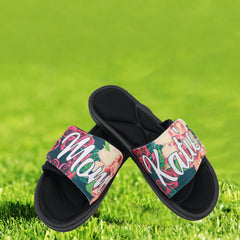 Personalized Floral Print Slide Sandals