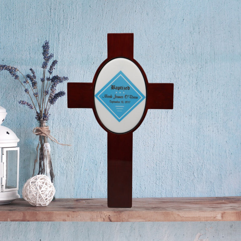 Personalized Children's Baptism Cross (Blue)