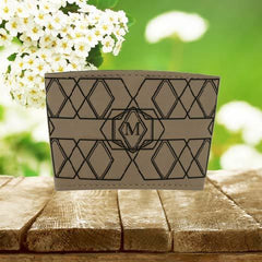 Single Letter Monogram Mug Sleeve Light brown/Blk