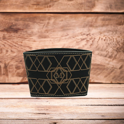 Single Letter Monogram Mug Sleeve Blk/Gld
