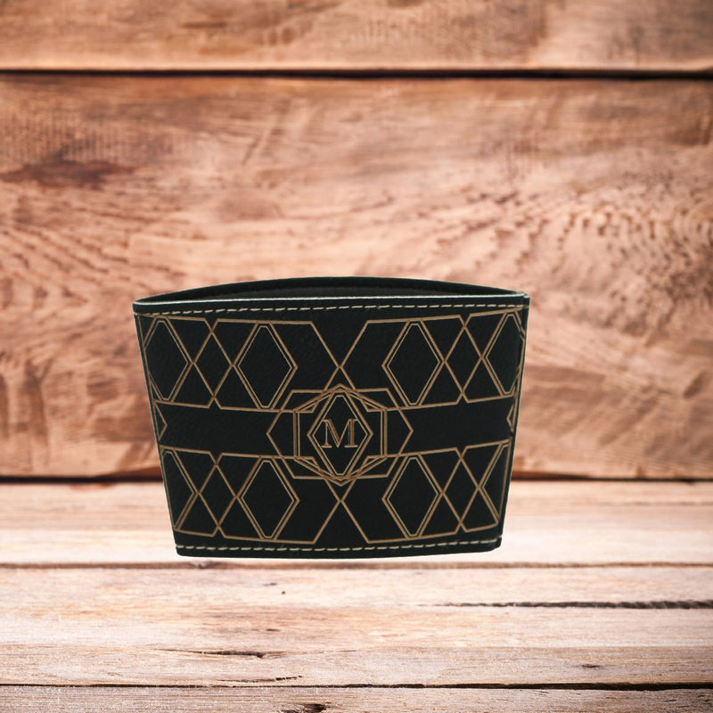 Single Letter Monogram Mug Sleeve Black/Gold