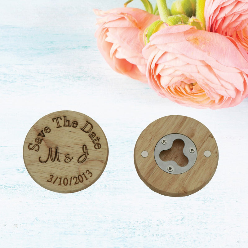 Save the Date Wooden Magnet Bottle Opener