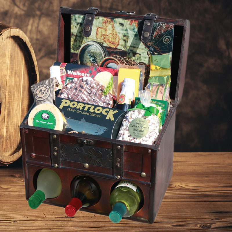 Gluten Free Wine Lovers Wooden Deluxe Gift Chest