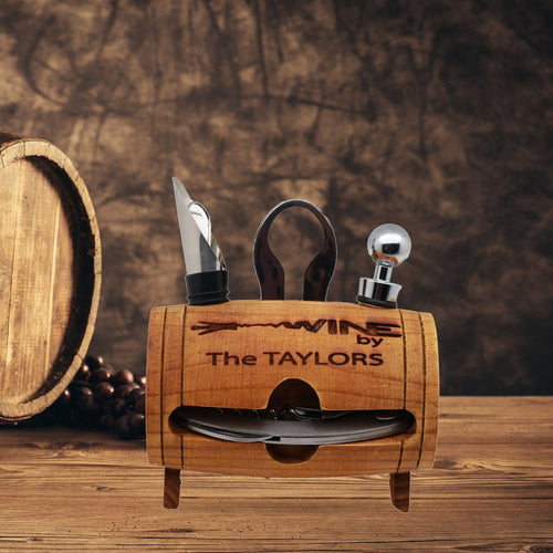 Personalized 4 Piece Wine tool Barrel