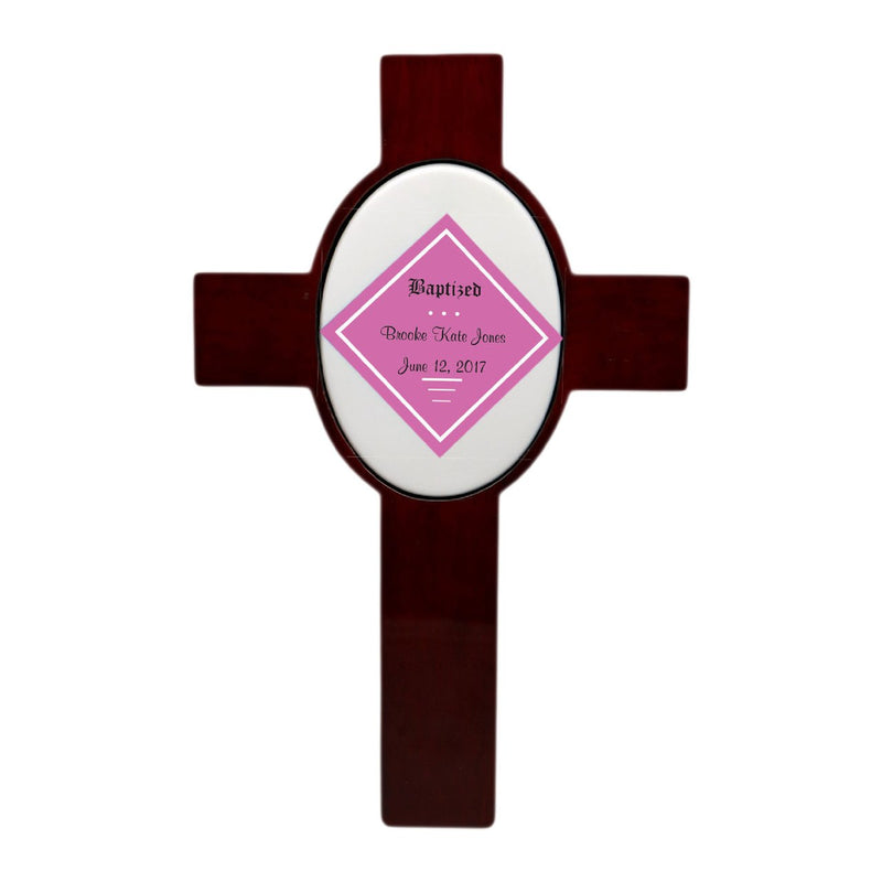 Personalized Children's Baptism Cross (Pink)
