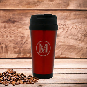 Single Letter Monogram -  Red Stainless Steel Travel Mug without Handle